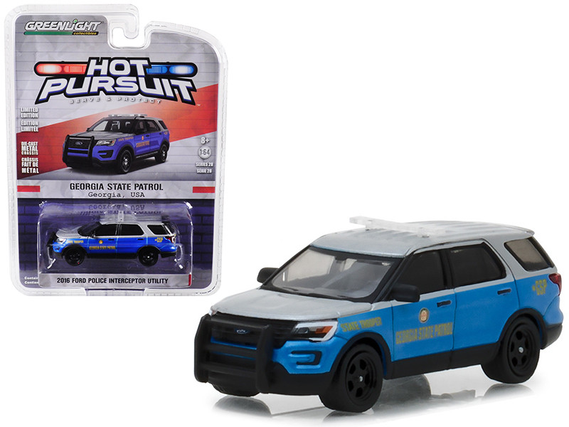 2016 Ford Police Interceptor Utility Georgia State Patrol Hot Pursuit Series 28 1/64 Diecast Model Car Greenlight 42850 F