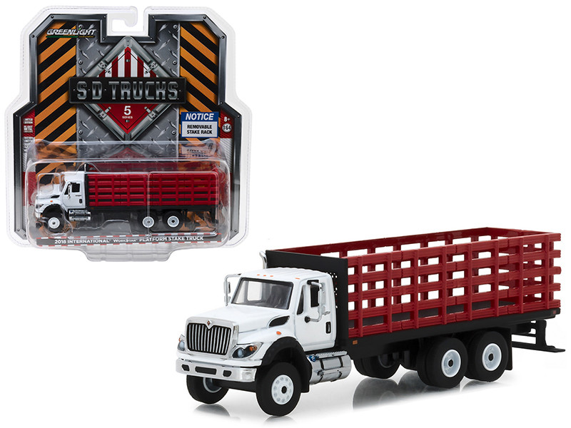 2018 International WorkStar Platform Stake Truck White Cab Red Body SD Trucks Series 5 1/64 Diecast Model Greenlight 45050 B