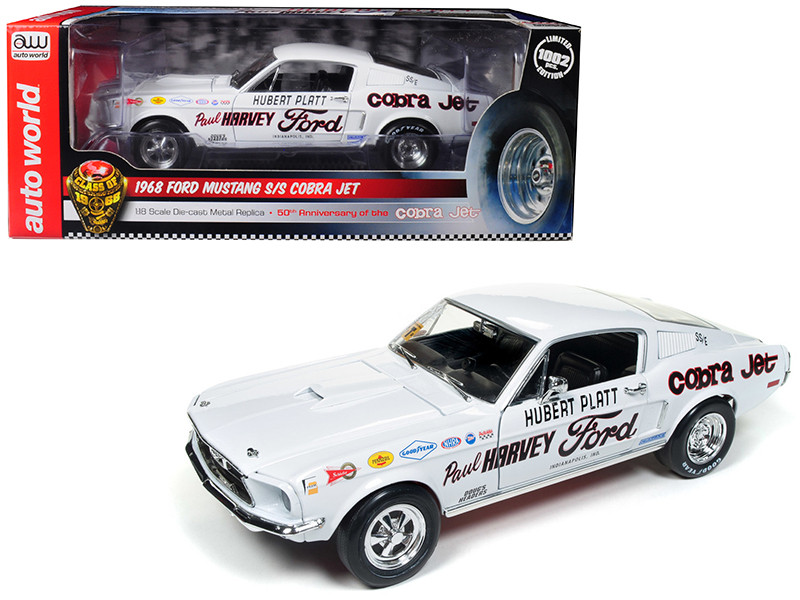 1968 Ford Mustang S/S Cobra Jet Hubert Platt Class 68 50th Anniversary Ford Cobra Jet Limited Edition 1002 pieces Worldwide 1/18 Diecast Model Car Autoworld AW247