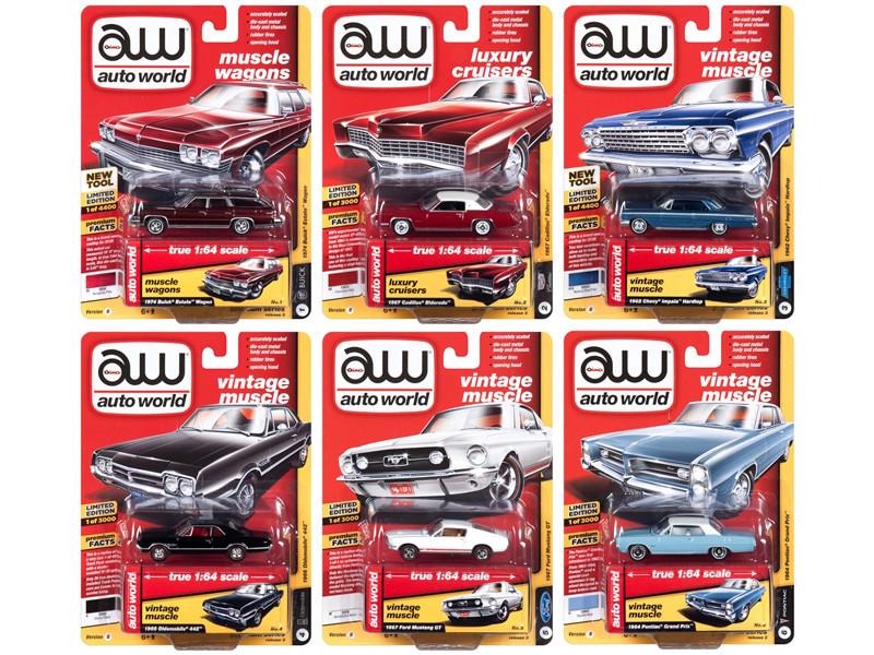 Autoworld Muscle Cars Premium 2018 Release 3 B Set 6 Cars 1/64 Diecast Models Autoworld 64182 B