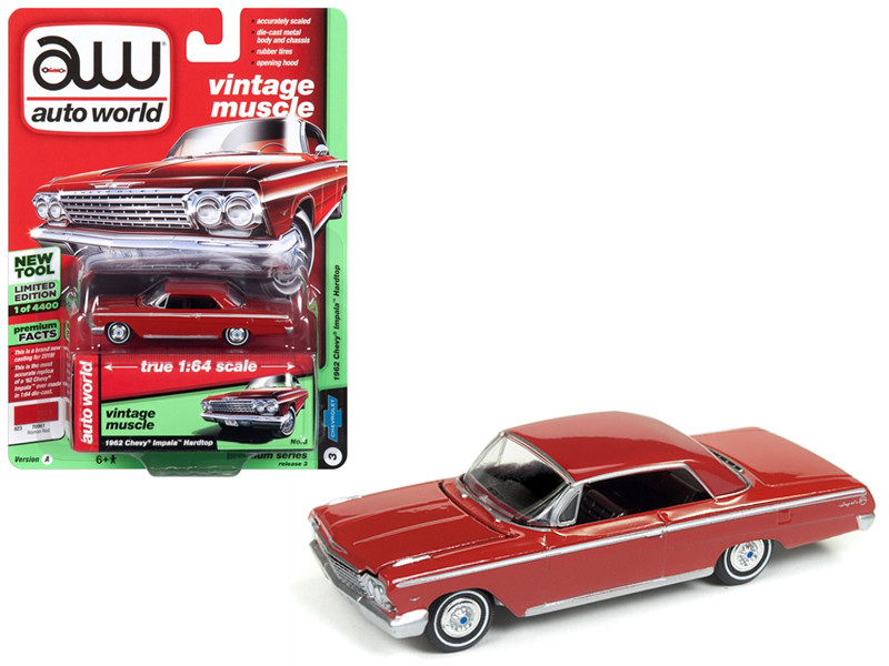 1962 Chevrolet Impala Roman Red Limited Edition 4400 pieces Worldwide 1/64 Diecast Model Car Autoworld AWSP008 A