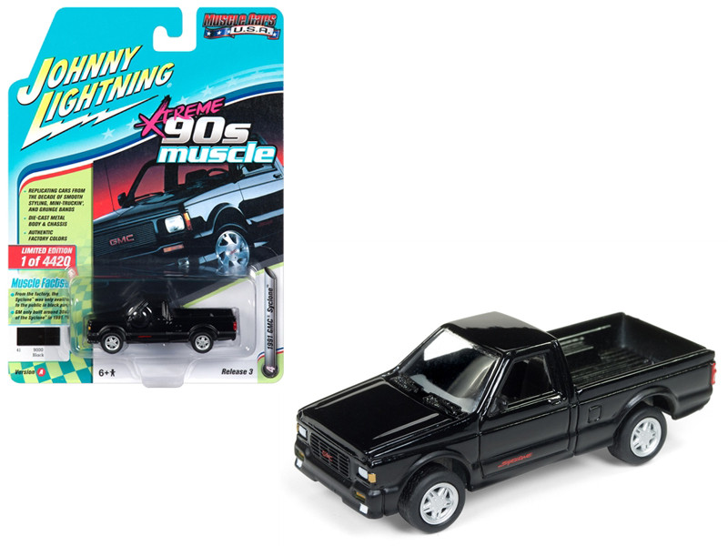 1991 GMC Syclone Pickup Truck Black 90's Muscle Limited Edition 4420 pieces Worldwide 1/64 Diecast Model Car Johnny Lightning JLSP027 A