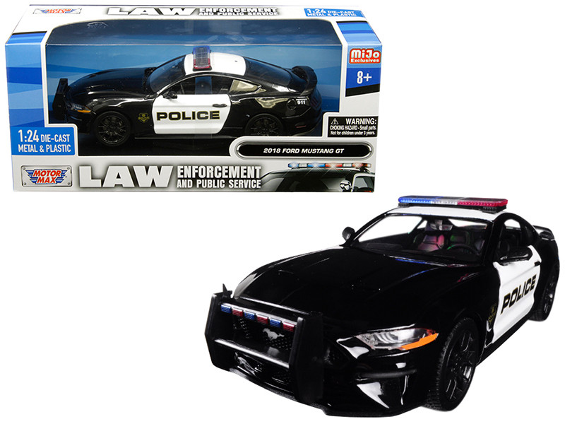 2018 Ford Mustang GT Police Black White Law Enforcement Public Service Series 1/24 Diecast Model Car Motormax 76968
