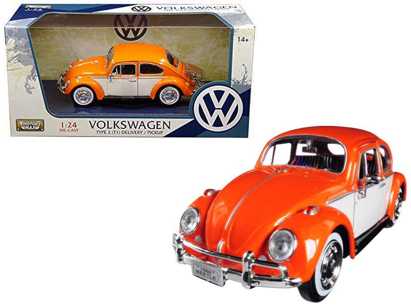 1966 Volkswagen Classic Beetle Rear Luggage Rack Orange 1/24 Diecast Model Car Motormax 79558