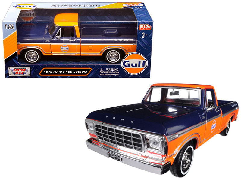 1979 Ford F-150 Custom Pickup Truck Gulf Dark Blue Orange 1/24 Diecast Model Car Motormax 79652