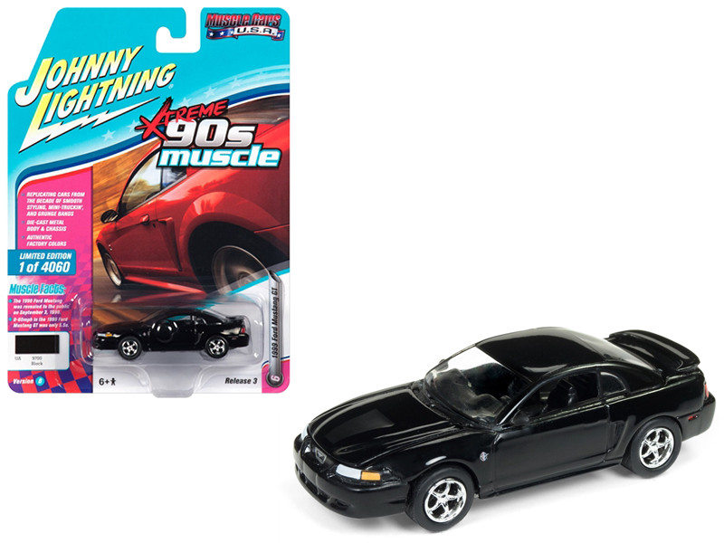 1999 Ford Mustang GT Gloss Black 90's Muscle Limited Edition 4060 pieces Worldwide 1/64 Diecast Model Car Johnny Lightning JLMC014 JLSP029 B