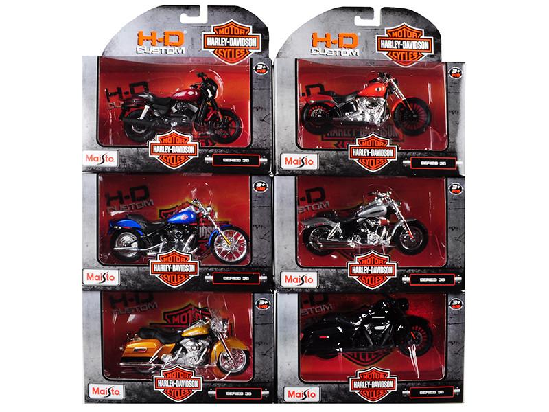 Harley Davidson Motorcycle 6 piece Set Series 36 1/18 Diecast Models Maisto 31360-36