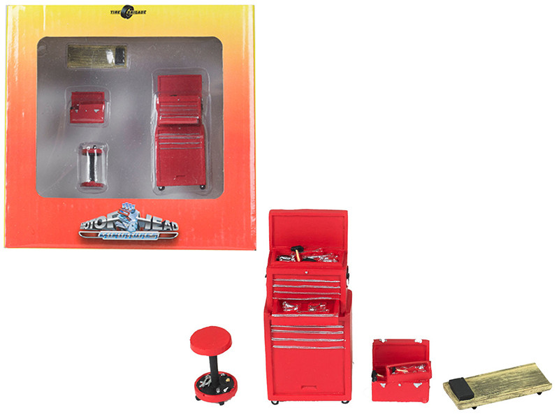 Tire Brigade 4 piece Tool Set Red 1/24 Motorhead Miniatures 191