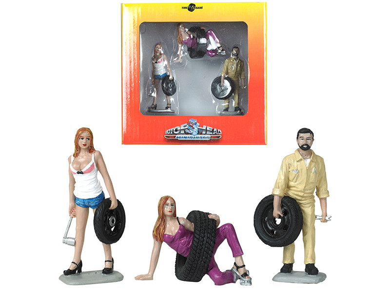 Val Meg Gary Tire Brigade 3 piece Figurine Set 1/24 Motorhead Miniatures 774