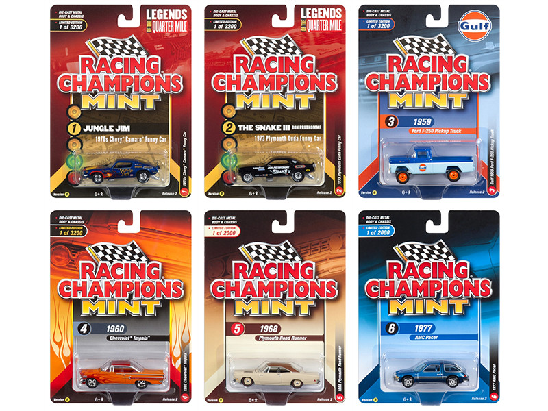 2018 Mint Release 2 Set B 6 Cars 1/64 Diecast Models Racing Champions RC008 B