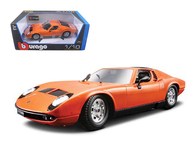 1968 Lamborghini Miura Orange 1/18 Diecast Car Model Bburago 12072