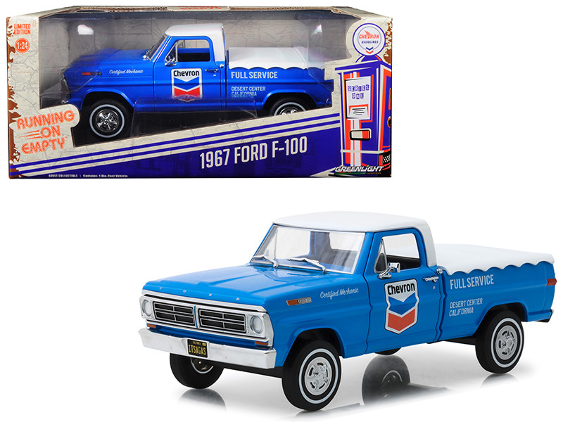 1967 Ford F-100 Bed Cover Chevron Full Service Blue White Top Running on Empty Series 1/24 Diecast Model Car Greenlight 85013