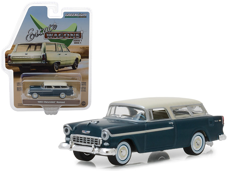 1955 Chevrolet Nomad Glacier Blue Cream Top Estate Wagons Series 1 1/64 Diecast Model Car Greenlight 29910 A