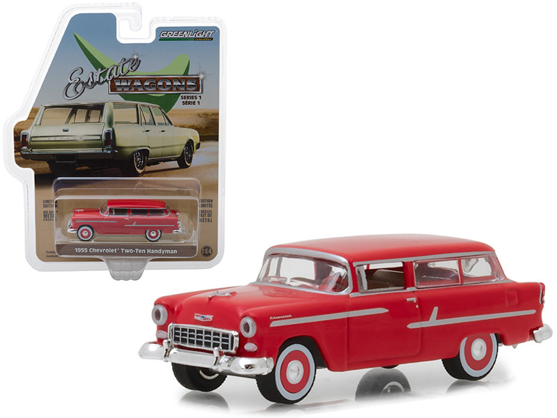 1955 Chevrolet Two-Ten Handyman Gypsy Red Estate Wagons Series 1 1/64 Diecast Model Car Greenlight 29910 B