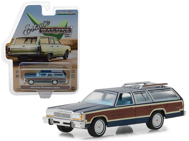 1979 Ford LTD Country Squire Roof Rack Midnight Blue Wood Paneling Estate Wagons Series 1 1/64 Diecast Model Car Greenlight 29910 E