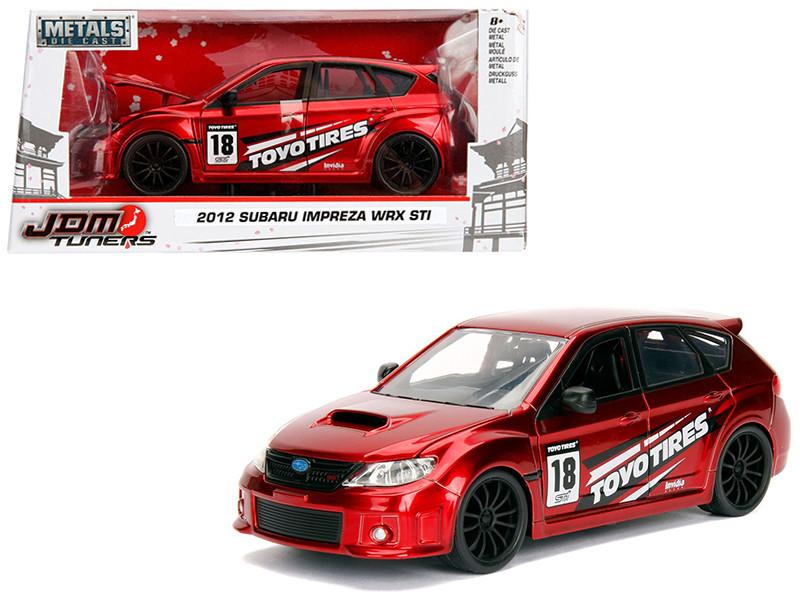 2012 Subaru Impreza WRX STI Red JDM Tuners 1/24 Diecast Model Car Jada 30389