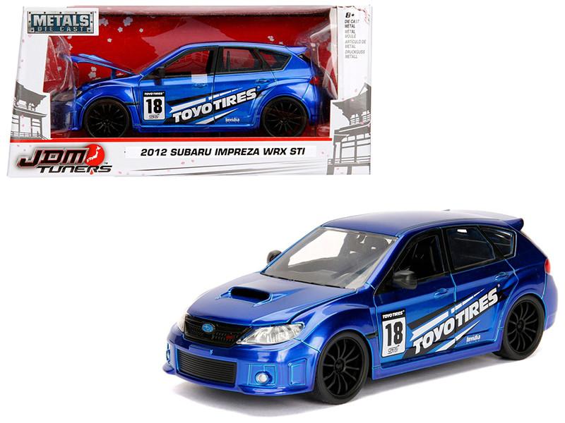2012 Subaru Impreza WRX STI Blue JDM Tuners 1/24 Diecast Model Car Jada 30390