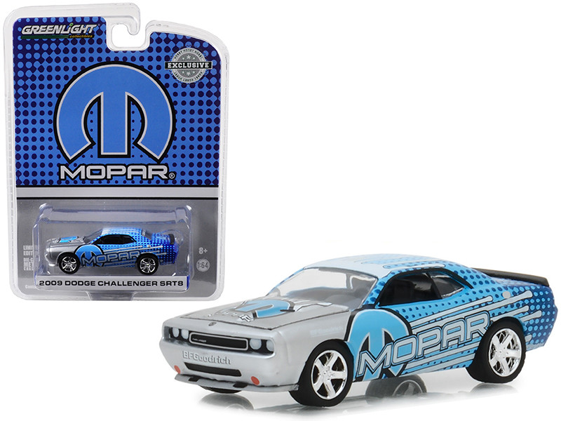 2009 Dodge Challenger SRT8 MOPAR Edition Silver Blue Hobby Exclusive 1/64 Diecast Model Car Greenlight 29962