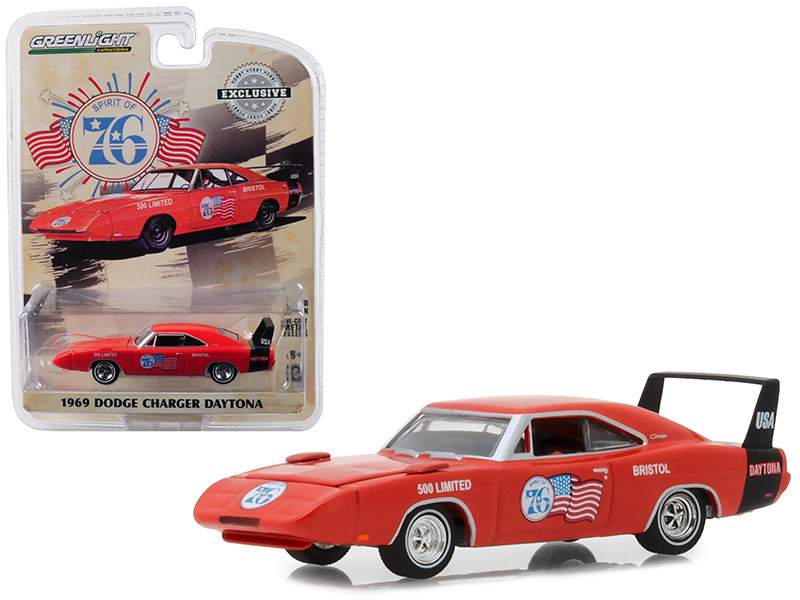 1969 Dodge Charger Daytona Spirit 76 Bristol 500 Limited Orange Hobby Exclusive 1/64 Diecast Model Car Greenlight 29969