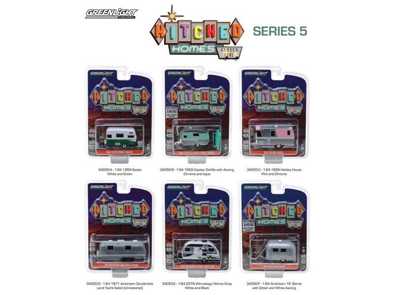 Hitched Homes Series 5 6 piece Trailer Set 1/64 Diecast Models Greenlight 34050