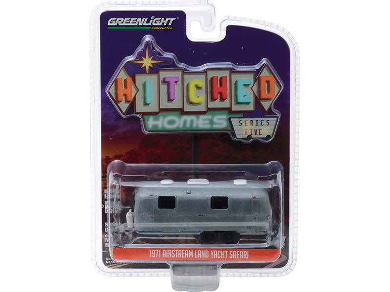 1971 Airstream Land Yacht Safari Travel Trailer Unrestored Version Hitched Homes Series 5 1/64 Diecast Model Greenlight 34050 D