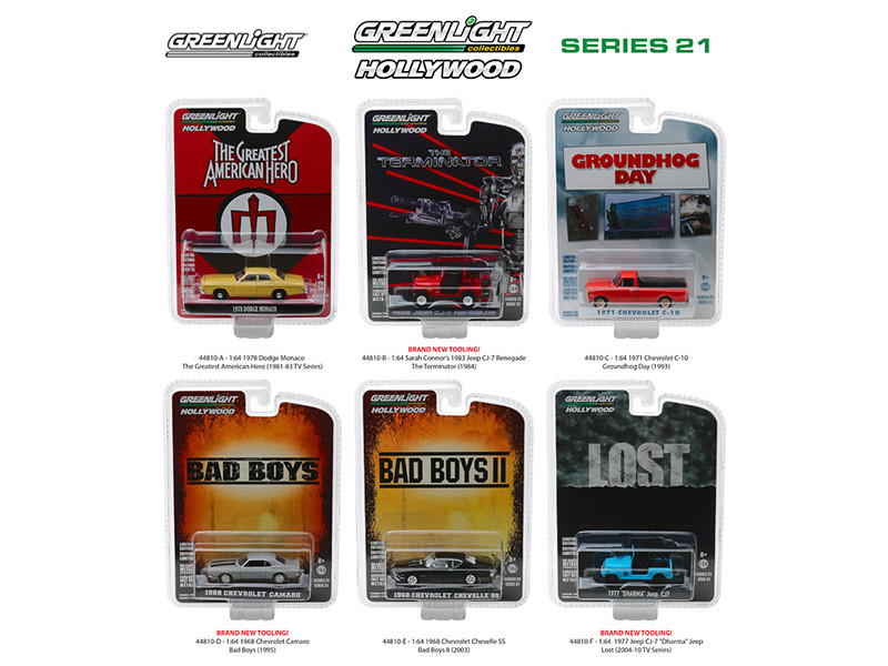 Hollywood Series Release 21 6 piece Set 1/64 Diecast Model Cars Greenlight 44810