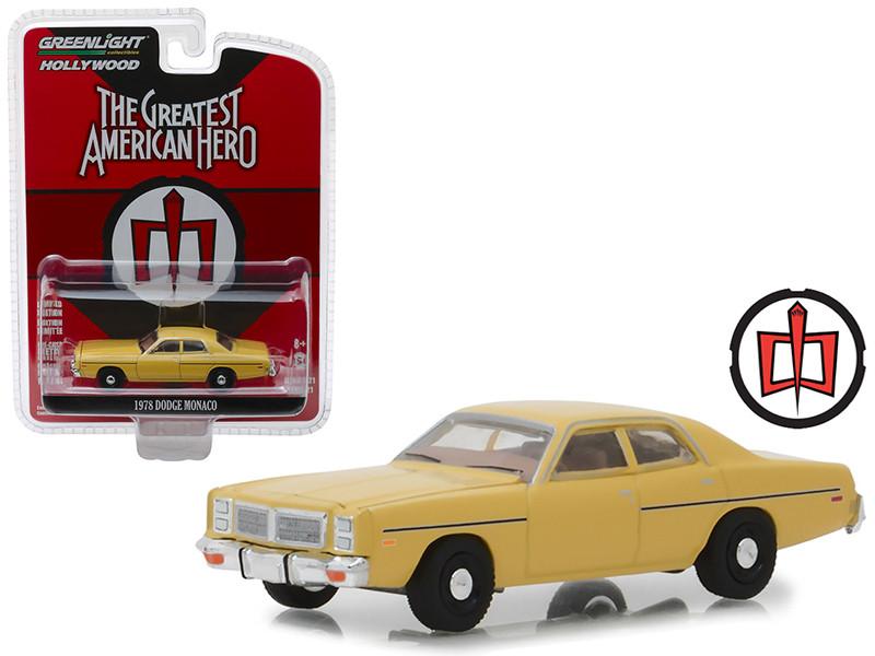 1978 Dodge Monaco Yellow The Greatest American Hero 1981 1983 TV Series Hollywood Series 21 1/64 Diecast Model Car Greenlight 44810 A