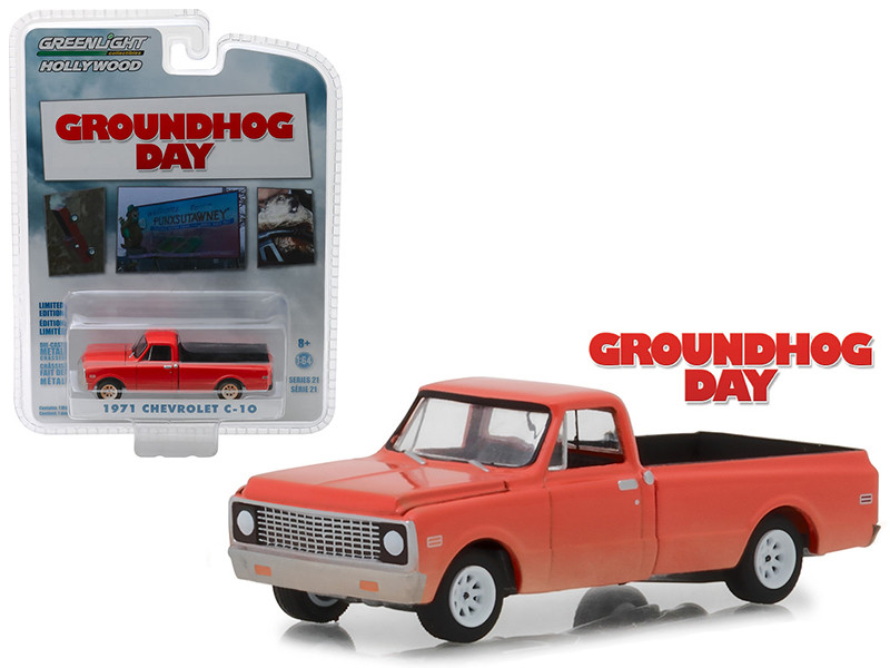 1971 Chevrolet C-10 Pickup Truck Orange Groundhog Day 1993 Movie Hollywood Series 21 1/64 Diecast Model Car Greenlight 44810 C