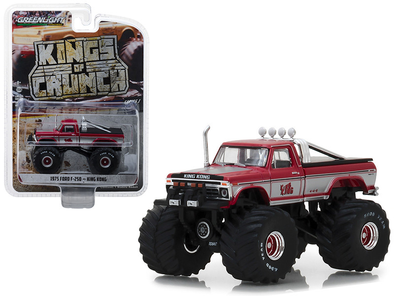 1975 Ford F-250 King Kong Monster Truck Red White Stripes Kings of Crunch Series 1/64 Diecast Model Car Greenlight 49010 C