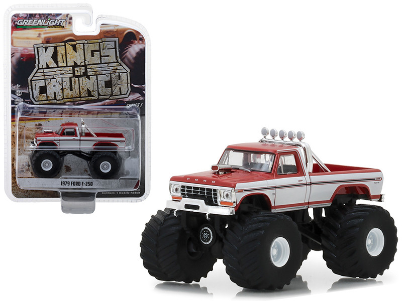 1979 Ford F-250 Monster Truck Red White Sides Kings of Crunch Series 1/64 Diecast Model Car Greenlight 49010 E