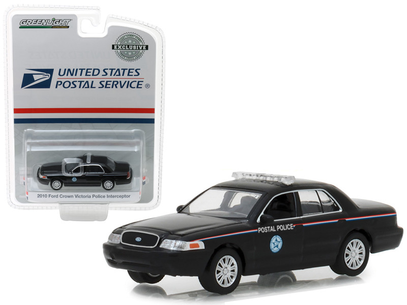 2010 Ford Crown Victoria Police Interceptor United States Postal Service USPS Black Hobby Exclusive 1/64 Diecast Model Car Greenlight 29971