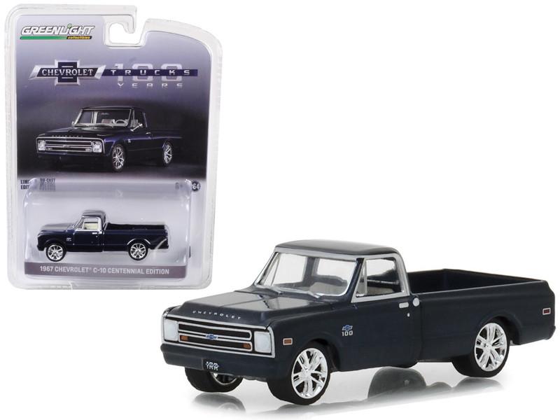 1967 Chevrolet C-10 Performance Centennial Edition Pickup Truck Metallic Dark Blue 1/64 Diecast Model Car Greenlight 29974