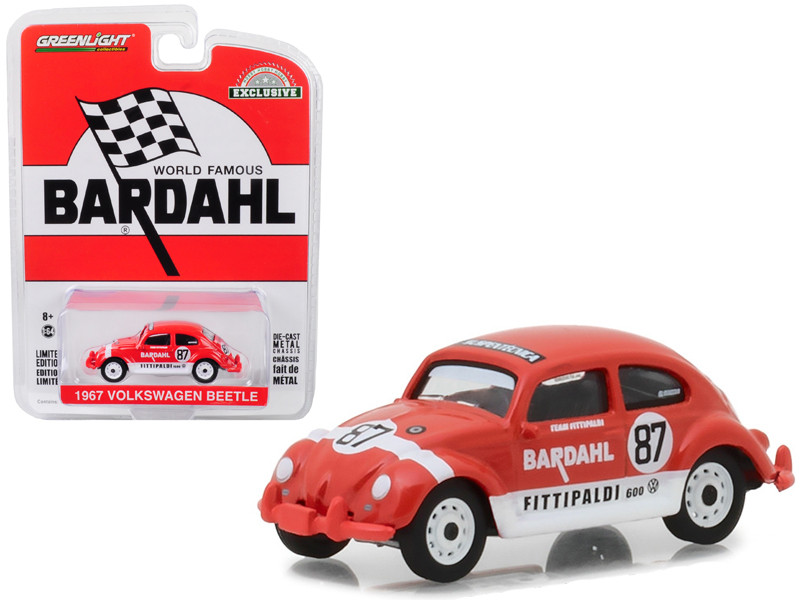 1967 Volkswagen Beetle #87 Bardahl Team Fittipaldi Red White Stripes Hobby Exclusive 1/64 Diecast Model Car Greenlight 29988