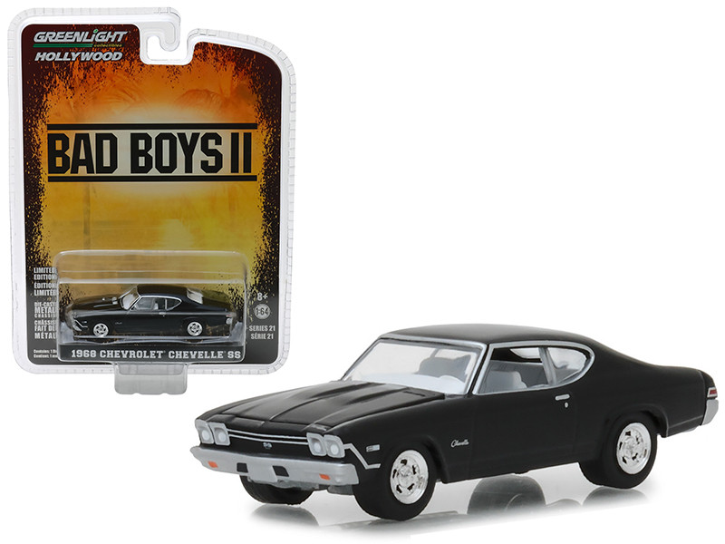 1968 Chevrolet Chevelle SS Black Bad Boys II 2003 Movie Hollywood Series 21 1/64 Diecast Model Car Greenlight 44810 E