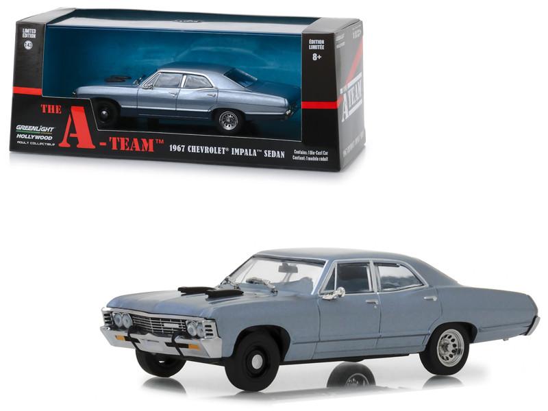1967 Chevrolet Impala Sedan Steel Blue The A-Team 1983 1987 TV Series 1/43 Diecast Model Car Greenlight 86527