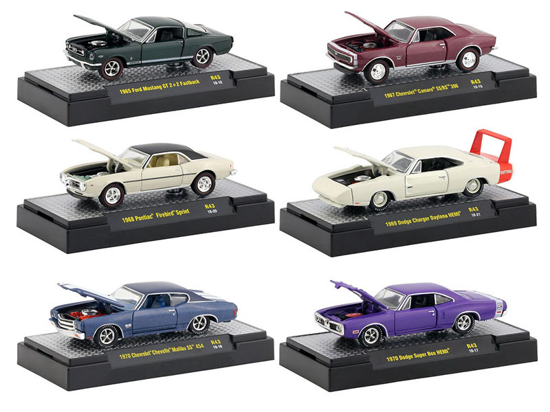 Detroit Muscle 6 Cars Set Release 43 DISPLAY CASES 1/64 Diecast Model Cars M2 Machines 32600-43