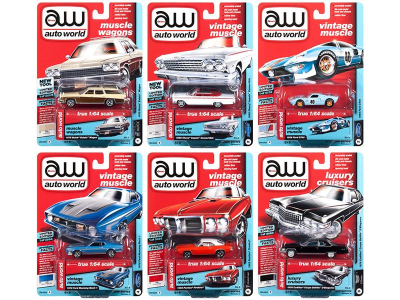 Autoworld Muscle Cars Premium 2018 Release 4 A Set 6 Cars 1/64 Diecast Model Cars Autoworld 64192 A