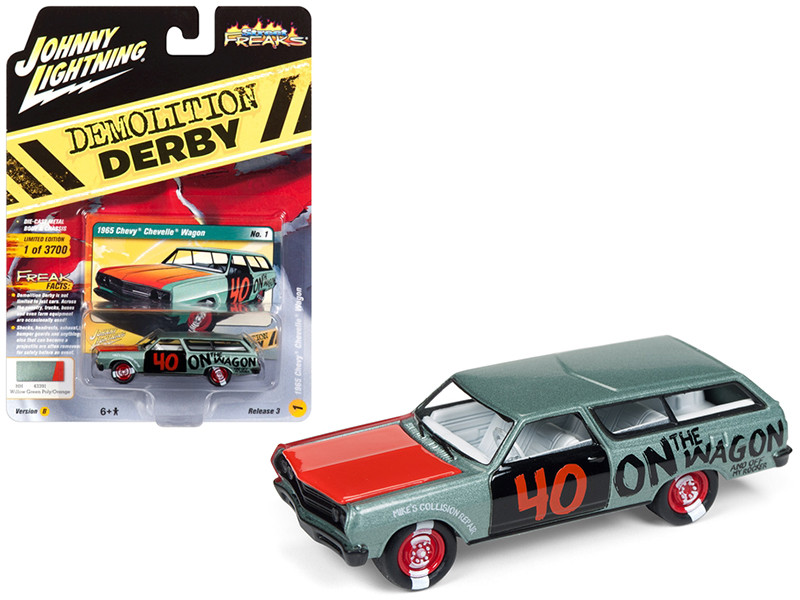 1965 Chevrolet Chevelle Wagon #40 Willow Green Metallic Limited Edition 3700 pieces Worldwide 1/64 Diecast Model Car Johnny Lightning JLCP7119