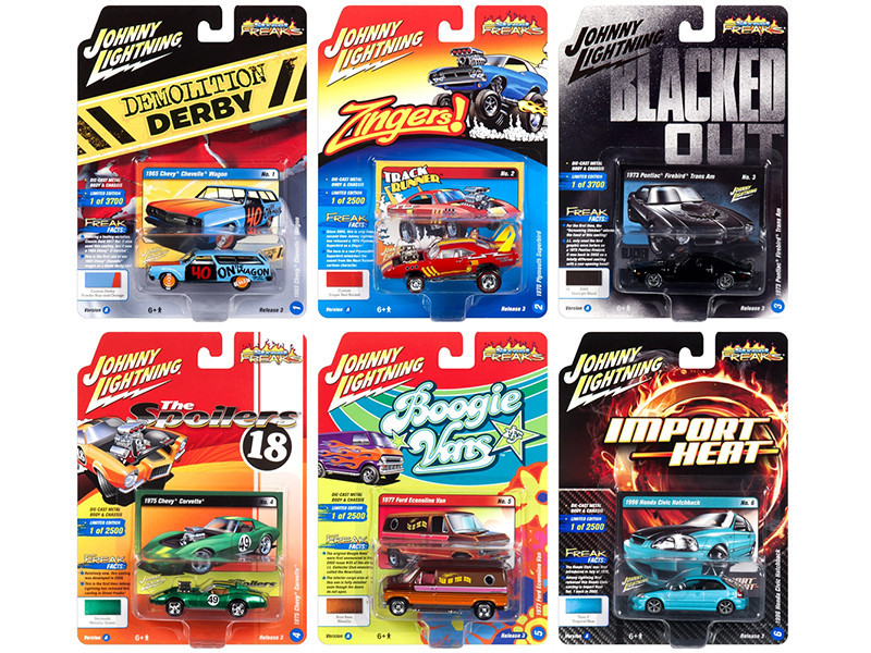 Street Freaks 2018 Release 3 Set A 6 Cars 1/64 Diecast Models Johnny Lightning JLSF009 A