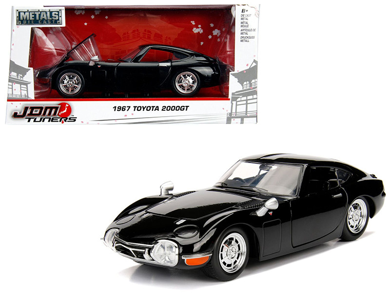 1967 Toyota 2000GT Coupe Black JDM Tuners 1/24 Diecast Model Car Jada 99575
