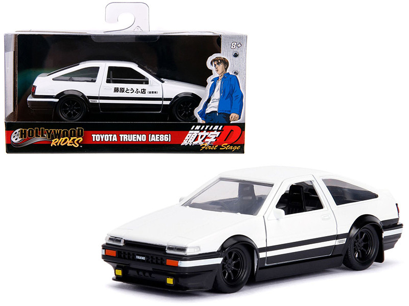 Toyota Trueno AE86 White Black Bottom Initial D First Stage 1998 TV Series Hollywood Rides Series 1/32 Diecast Model Car Jada 99801