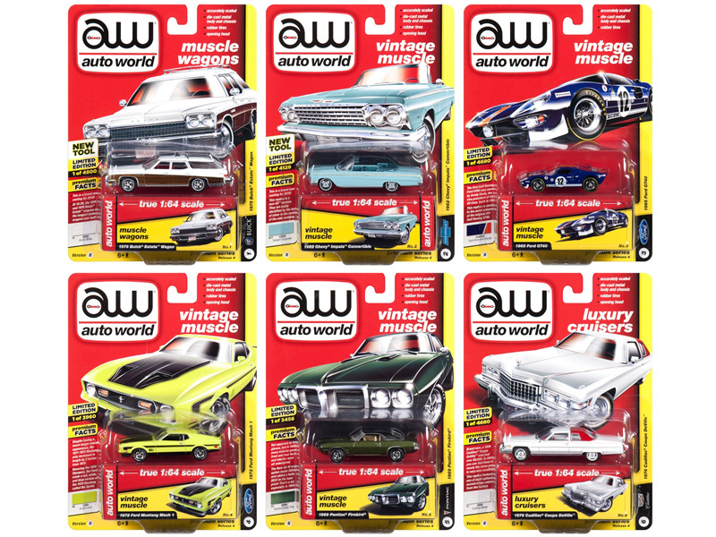 Autoworld Muscle Cars Premium 2018 Release 4 B Set 6 Cars 1/64 Diecast Model Cars Autoworld 64192 B