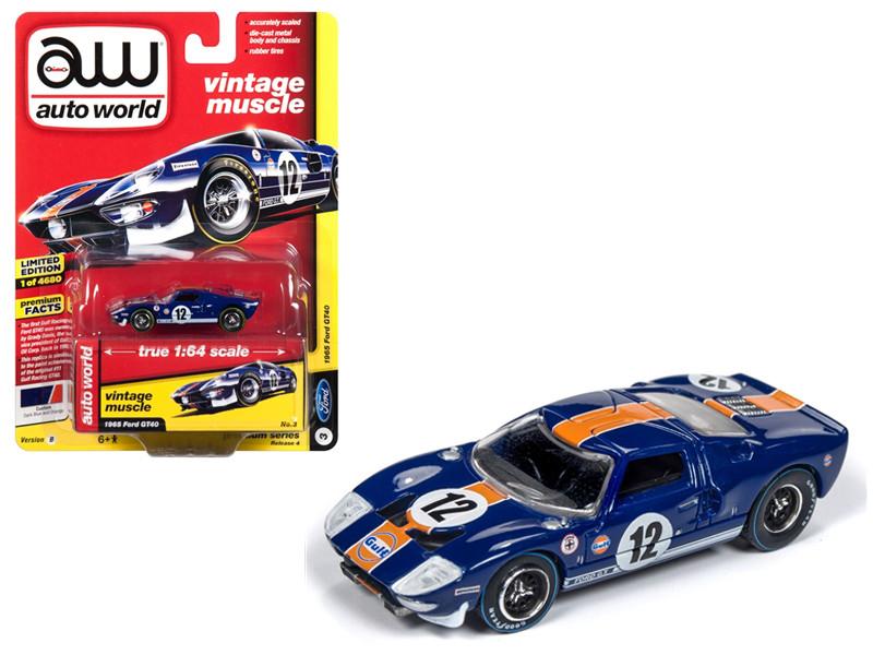 1965 Ford GT40 #12 Gulf Dark Blue Orange Stripe Vintage Muscle Limited Edition 4680 pieces Worldwide 1/64 Diecast Model Car Autoworld AWSP015 B