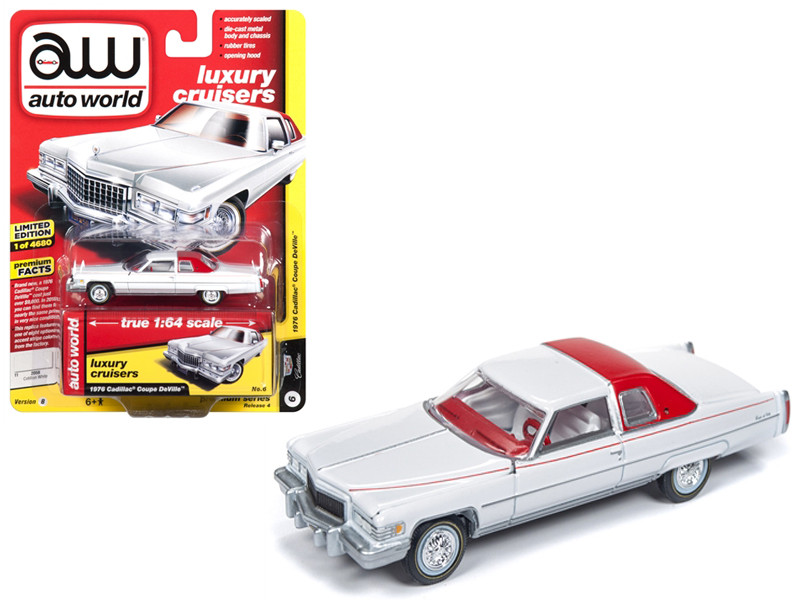 1976 Cadillac Coupe DeVille D'Elegance Gloss White White Interior Luxury Cruisers Limited Edition 4680 pieces Worldwide 1/64 Diecast Model Car Autoworld AWSP017 B