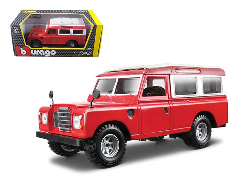 Old Land Rover Red 1/24 Diecast Car Model Bburago 22063