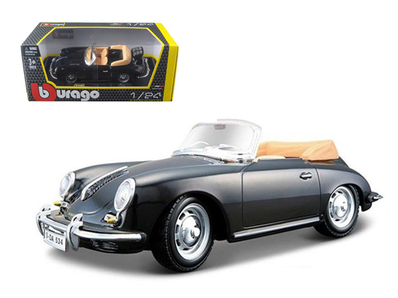 1961 Porsche 356 B Cabriolet Black 1/24 Diecast Model Car by Bburago