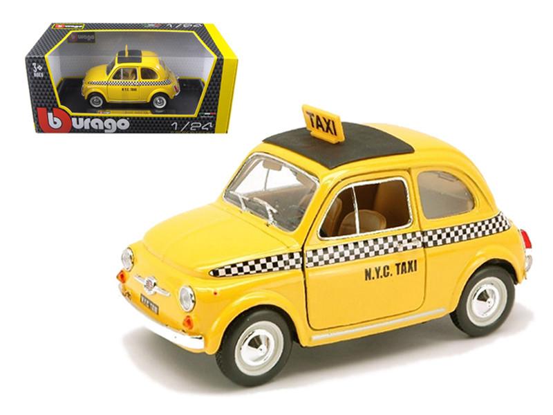 Fiat 500 Taxi Cab 1/24 Diecast Model Car Bburago 22105