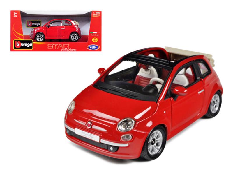 2009 Fiat 500 C Cabriolet Red 1/24 Diecast Model Car BBurago 22117