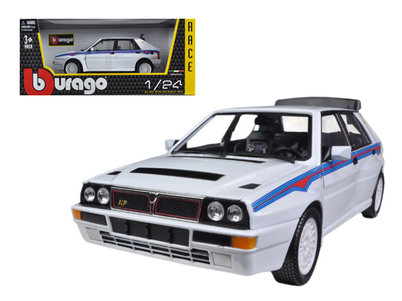 Lancia Delta Integrale HF White With Martini Stripes 1/24 Diecast Car Model Bburago 28006