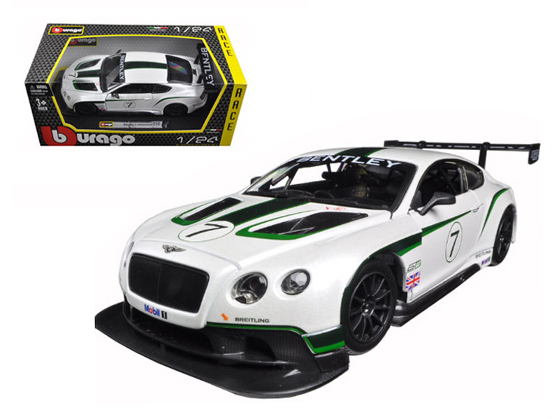 Bentley Continental GT3 White #7 1/24 Diecast Model Car by Bburago